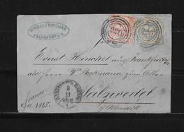 1865 AD Thurn & Taxis Brief Vorderseite Frankfurt Salzwedel - Thurn Und Taxis