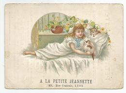 Chromo Pub Publicité Lyon A La Petite Jeannette 35 Rue Centrale 10,7x 15 Cm Env - Publicités