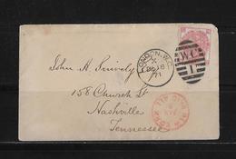 1871 Großbritannien Brief London Nashville USA - Lettres & Documents