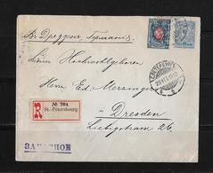 1912 Russland R-Brief St.Petersburg Dresden - 1857-1916 Empire