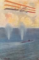 """2276 """"SOMMERGIBILE ATTACCATO DA UN TRIPLANO CAPRONI-IMPRESSIONI DI VOLO TEN. CONTINI"""" CART.POST. ILL. ORIG. NON  SPED. - War 1914-18"""