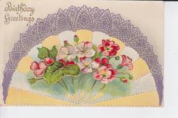 CP Avec éventail Décoré De Fleurs ( Série 6055 ) - Verjaardag