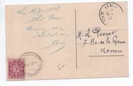 1947 - CP De LA BRIGUE (ALPES MARITIMES) Pour MONACO -> TAXE - Marcophilie