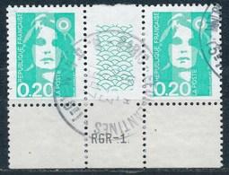 France - Marianne Du Bicentenaire (Briat) 0,20 émeraude YT 2618 Obl. (paire + Interpanneau Et Guillochis RGR-1) - 1989-96 Marianne Du Bicentenaire
