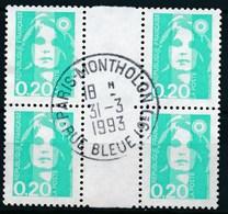 France - Marianne Du Bicentenaire (Briat) 0,20 émeraude YT 2618 Obl. (bloc De 4 Avec Interpanneau) - 1989-96 Marianne Du Bicentenaire