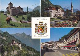 LIECHTENSTEIN / VADUZ / MULTIVUES - BELLE FLAMME ET TIMBRE AU VERSO - BLASON - Liechtenstein