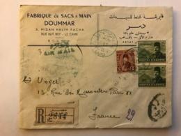 EGYPT - Registered Letter 1949 - Publicity Fabrique De Sacs A Main DOUMMAR - Cairo Le Caire - To France - Egypt