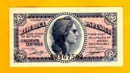 Billetes De  50 Centimos  Serie A - 1937 UNC - [ 2] 1931-1936 : República