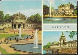 GERMANIA - DRESDA - TRE VEDUTE - VIAGGIATA  FRANCOBOLLO ASPORTATO - Dresden