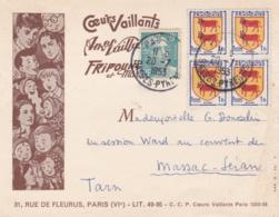"""Blason Béarn En Bloc De 4 Et Gandon Sur Carte Publicitaire """" Coeurs Vaillants """" - Postmark Collection (Covers)"""