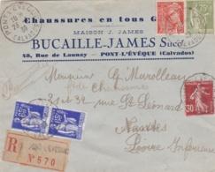 """Mercure  Paix Et Semeuse Sur Lettre Recommandée De 1939 à Entête """" Chaussures En Tous Genres """" Pont-L'Eveque """" - Storia Postale"""