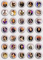 Johnny Hallyday Music Fan ART BADGE BUTTON PIN SET 5 (1inch/25mm Diameter) X 35 - Musique