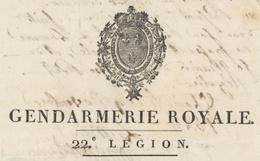 Héraldique Gendarmerie Royale 22e Légion Lunéville 1824 - 3e Division Militaire St.Louis Généalogie Vitale Lucerne - Documentos Históricos