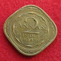British India 2 Annas 1945 (b) KM# 543  Inde Indie Indien - Inde
