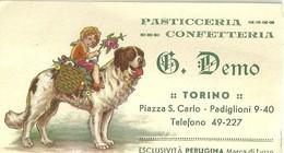 """2278 """" PASTICCERIA CONFETTERIA G. DEMO - TORINO -ESCLUSIVITA' PERUGINA-ANNI '30"""" BIGLIETTO ORIGINALE - Cartoncini Da Visita"""