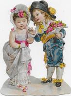 Chromo-découpi  6 Cm X7 Cm: Couple Enfants Au Directoire Conter Fleurette - Enfants