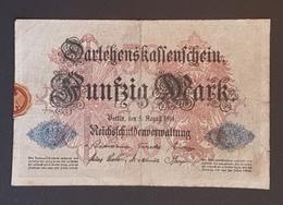 EBN8 - Germany 1914 Banknote 50 Mark Pick 49b 7 Digits #K.Nr 4653619 - [ 2] 1871-1918 : Duitse Rijk