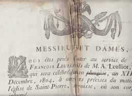 Placard Mortuaire - Jean François Leulliot, 31 Déc 1804, Eglise Saint Pierre (Calais ?) - Obituary Notices