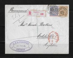 1889 Belgien R-Brief Anvers Colchester Großbritannien - 1884-1891 Léopold II