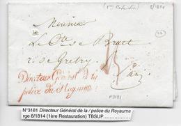 1814 - LETTRE Avec MARQUE Du DIRECTEUR GENERAL De La POLICE Du ROYAUME => PARIS - Marcofilia (sobres)