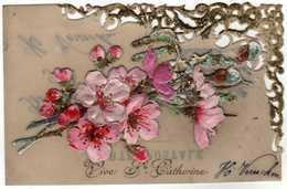 FÊTES  VOEUX  Ste Catherine  Carte En Celluloïd. Bouquet  En Découpis - Sainte-Catherine