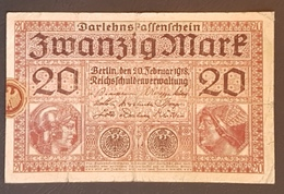 EBN8 - Germany 1918 Banknote 20 Mark Pick 57 WWI - [ 2] 1871-1918 : Duitse Rijk