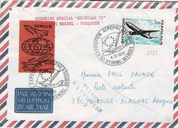 """TP N° 1751 Seul Sur Enveloppe De Stiring-Wendel Avec Courrier Spécial """"Exphilas 73"""" - Poststempel (Briefe)"""