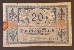 EBN8 - Germany 1915 Banknote 20 Mark Pick 63 WWI - [ 2] 1871-1918 : German Empire