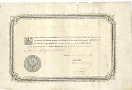 Atribution De Médaille Par Le Prince Napoléon-Expo Universelle De L'agriculture & Horticulture. Befançon 1860  (VP 826)) - Diplômes & Bulletins Scolaires