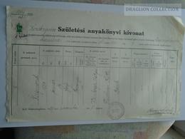 ZA179.2  Old Document Hungary JUDAICA - Balatonboglár Rabbiság -  Weinberger- Fleischman 1939  WWII - Naissance & Baptême