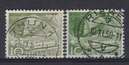 SUISSE 1949: 'Paysages' , Timbre De 10c (ZNr 299), 2 Nuances De Vert, Oblitérés - Abarten