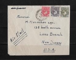1947 Nigeria Luftpost Brief Jos Long Branch USA - Nigeria (...-1960)