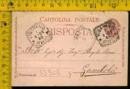 Regno Umberto Cartolina Intero Postale Annullo Tondo Riquadrato Vigevano Per Gambolò Pavia - 1878-00 Umberto I