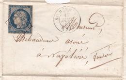 CERES N°4 - 25c Bleu - OBLITERATION GRILLE - CACHET Type 15 Du 17 Janvier 1851de STE HERMINE -  Vendée - Pour NAPOLEON-V - Postmark Collection (Covers)