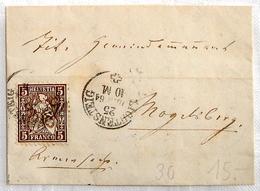 Schweiz Suisse 1864:Siegel-Faltbrief Mit Zu 30 Mi 22 Yv 35 Mit O LICHTENSTEIG 25 JUNI 64 über BRUNNADERN Nach Mogelsberg - 1862-1881 Helvetia Assise (dentelés)