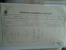 ZA179.4  Old Document Hungary JUDAICA - Balatonboglár Rabbiság  - Lotti - Abraham Markus - Netti KRAMER - Szárszó 1939 - Naissance & Baptême
