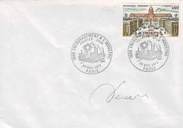 TP N° 1775 Seul Sur Enveloppe Non Circulée Avec Cachet 1er Jour De Paris Et Signature De Décaris - Poststempel (Briefe)
