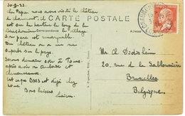 173 PASTEUR SUR CPA POUR LA BELGIQUE - Postmark Collection (Covers)