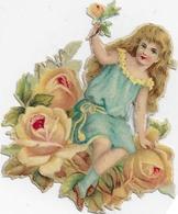 Chromo-découpi  6 Cm X 4 Cm: Enfant Robe Turquoise Parmi Les Roses - Enfants