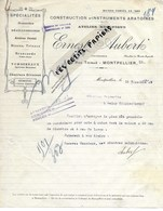 34 - Hérault - MONTPELLIER - Facture AUBERT - Construction D'instruments Aratoires - 1924 - REF 275 - Suisse