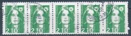 France - Marianne Du Bicentenaire (Briat) 2,10 Vert YT 2622 Obl. Bande De 5 Horizontale) - 1989-96 Marianne Du Bicentenaire