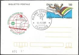 """BIGLIETTO POSTALE SCI NAUTICO MONDIALI A LECCO L. 150 - 1981 - CATALOGO FILAGRANO """"B51"""" - FDC - 6. 1946-.. Repubblica"""