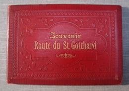 Album Souvenir Printed Photographies Ca1890 Souvenir Route Du St. Gotthard Karl Künzli Zurich Litho Synnberg & Ruttger - Fotos