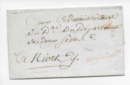 1792/1793 ? - LETTRE SC En FRANCHISE Avec MARQUE De La CAISSE De L'EXTRAORDINAIRE => NIORT - Marcofilia (sobres)
