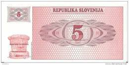 SLOVENIE 5 TOLARJEV 1990 UNC P 3 - Slovenia