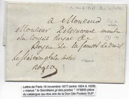 1824/1828 - LETTRE En FRANCHISE Avec MARQUE MANUSCRITE Du SECRETAIRE GENERAL Des POSTES à PARIS Avec SIGNATURE - Marcofilia (sobres)