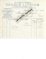 75 - Paris - PARIS - Facture SOURCE LITHIUM - Eau Minérale - 1905 - REF 275 - Suisse