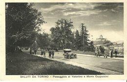 """2288 """" SALUTI DA TORINO- PASSEGGIATA AL VALENTINO E MONTE CAPUCCINI- FIAT PRIMI '900  """" CART. POST. AN. ORIG. NON SPED. - Parcs & Jardins"""