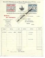 88 - Vosges - VITTEL - Facture Sté DES EAUX MINERALES DE VITTEL - Eaux Minérales - 1936 - REF 275 - Suisse
