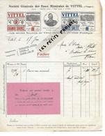 88 - Vosges - VITTEL - Facture Cie DES EAUX MINERALES DE VITTEL - Eaux Minérales - 1909 - REF 275 - Suisse